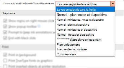 La liste Ouvrir tous les documents à l'aide de cette liste d'affichage a été étendue pour que le client puisse sélectionner un affichage par défaut.