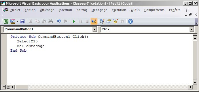 Sous-procédure dans Visual Basic Editor