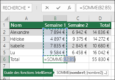 La cellule B6 affiche la formule SOMME via la fonctionnalité Somme automatique: =SOMME(B2:B5)