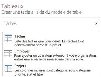 microsoft access 365 La zone de recherche de modèles de table sur l'écran d'accueil d'Access.