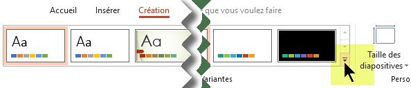 Sélectionnez la flèche vers le bas qui ouvre la galerie de variantes de couleurs