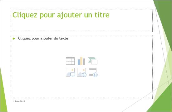 Diapositive de titre et de contenu avec deux espaces réservé