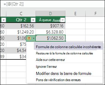 Notification d'erreur de formule incohérente dans un tableau Excel