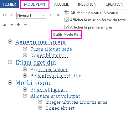 Image de certains outils Mode Plan dans le menu Mode Plan avec un exemple de plan du texte lorem ipsum