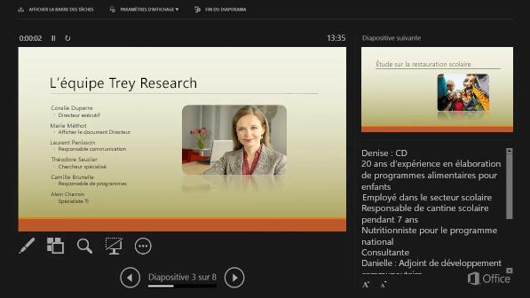 Mode Présentateur dans PowerPoint2016, avec un cercle autour des notes de l'intervenant
