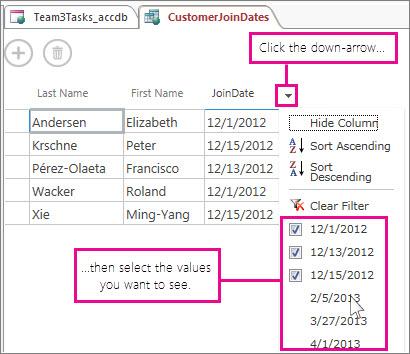 Filtrage d'une colonne d'une requête dans une application Access.