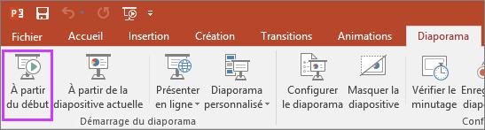 Bouton «À partir du début» sous l'onglet Diaporama dans PowerPoint