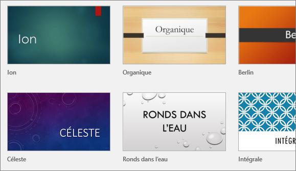 Affiche les thèmes dans PowerPoint, sous Fichier > Nouveau