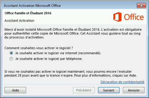 affiche l assistant activation de microsoft office