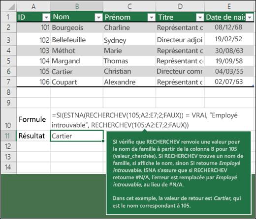 Exemple d'utilisation de la fonction RECHERCHEV5