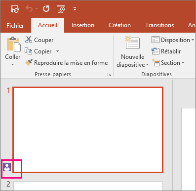 Icône indiquant qu'un autre utilisateur collabore sur une diapositive dans PowerPoint2016