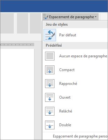 Options permettant de modifier l'espace entre paragraphes dans Word