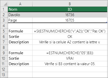 Exemples: ESTNUM et recherche