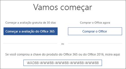 """Mostra a tela """"Vamos começar"""" que indica que uma avaliação do Office 365 está incluído neste dispositivo"""