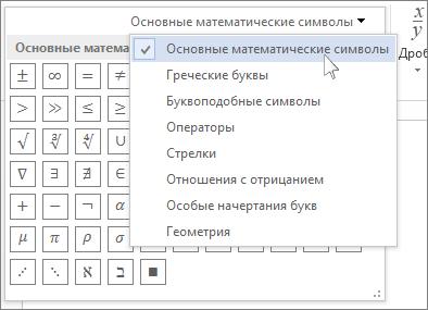 Основные математические символы