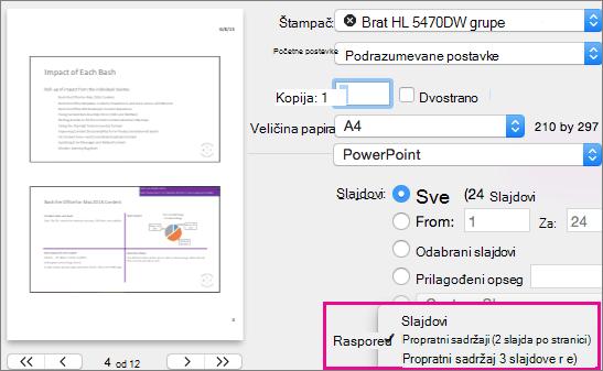 Dodavanje logotipa, imena preduzeća ili teksta zaglavlja odnosno podnožja propratnom sadržaju - PowerPoint za Mac