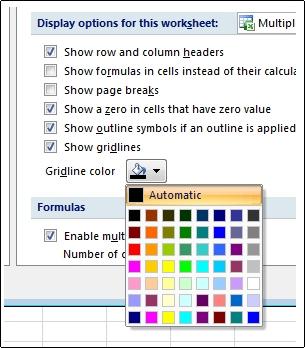 更改工作表中的網格線顏色 - Excel