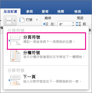 在 Word 中插入分頁符號 - Office 支援