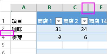取消隱藏 (顯示) 欄或列 - Excel