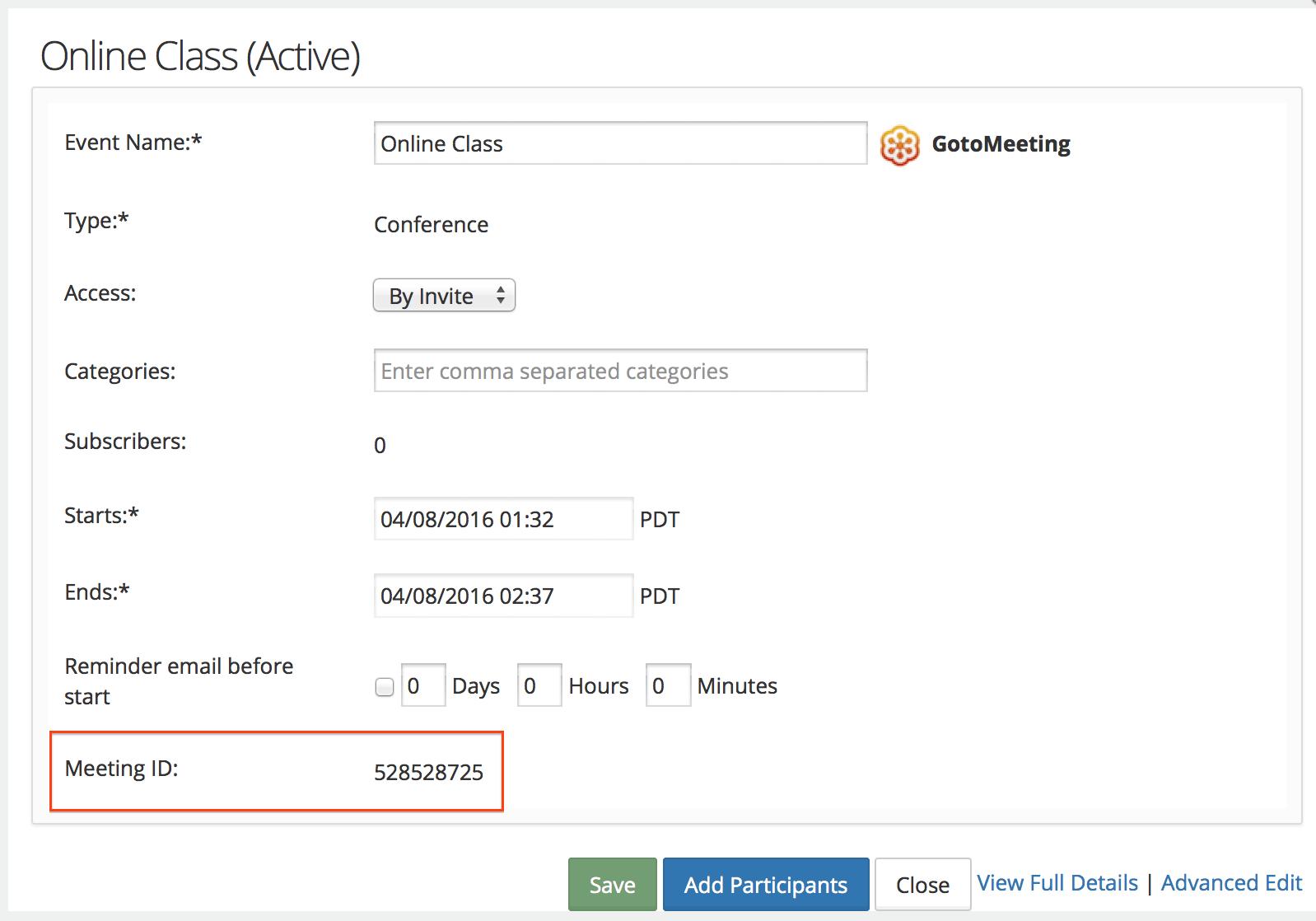 GotoMeeting / GotoWebinar/ GotoTraining Integration