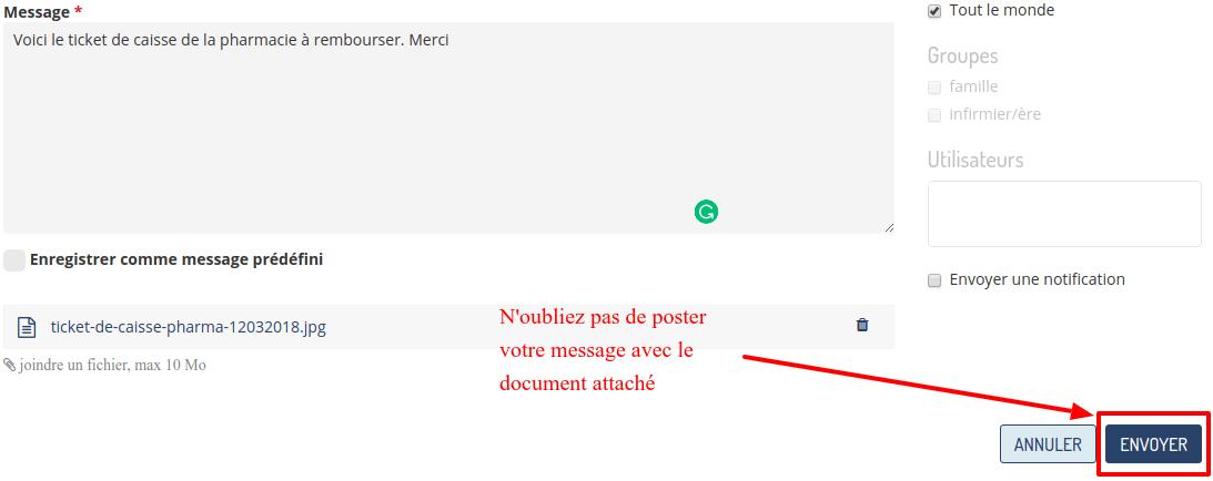Enregistrer le message avec le fichier