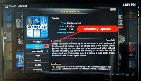 Manually Update Kodi Addon
