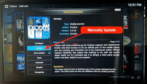 Manually Update Kodi Addon