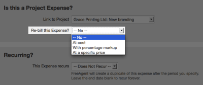 Add costs to a project – FreeAgent