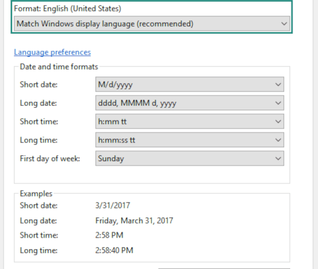 First Check That Your Systems Date Time Or Number Formats Is Set To Match Windows Display Language By Navigating To Control Panel Change Date Time