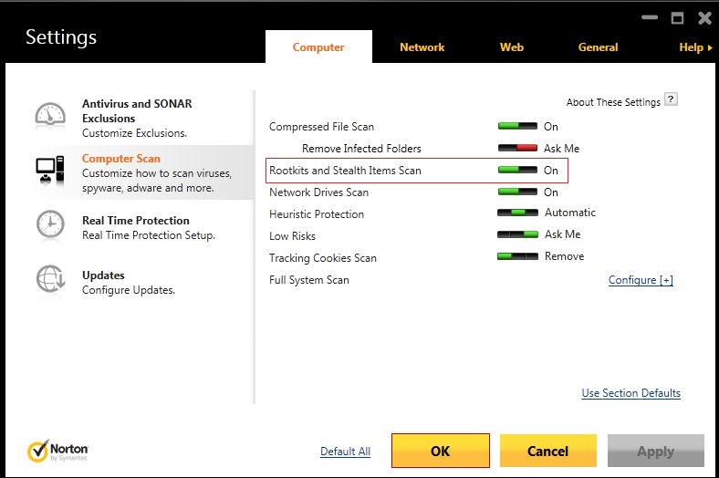 How to disable Rootkit Scan- Norton Internet Security 2014
