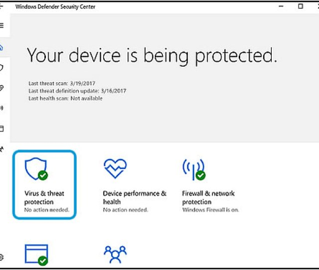 Virus Threat Protection On The Windows Defender Opening Screen