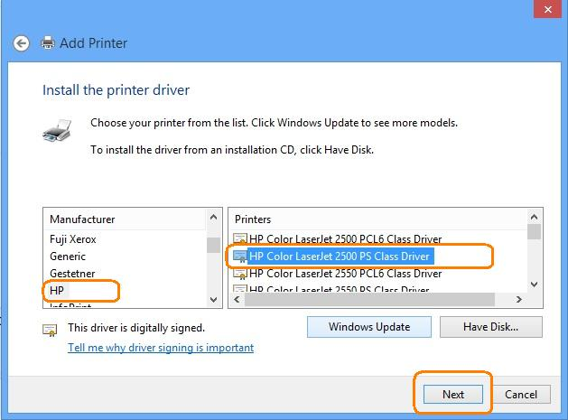 Hp Laserjet Install The Driver For An Hp Printer On A