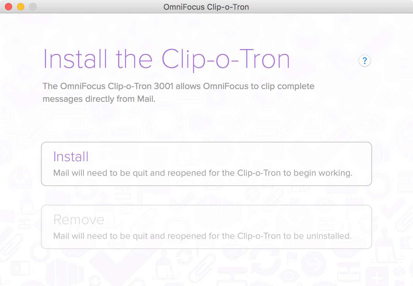 Clipping from Apple Mail using the OmniFocus Clip-o-Tron