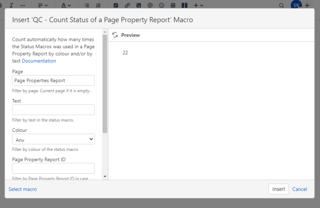 qc count status of a page property macro