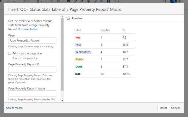 qc status stats table of a page property report macro