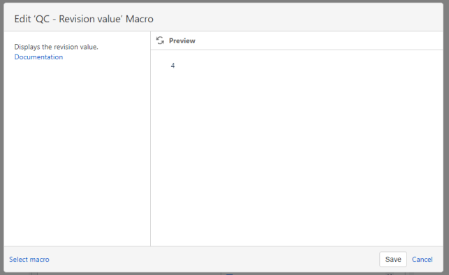 revision value macro browser