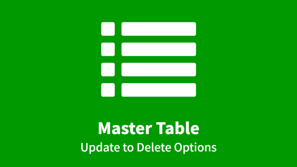 Master Table, Update to Delete Options