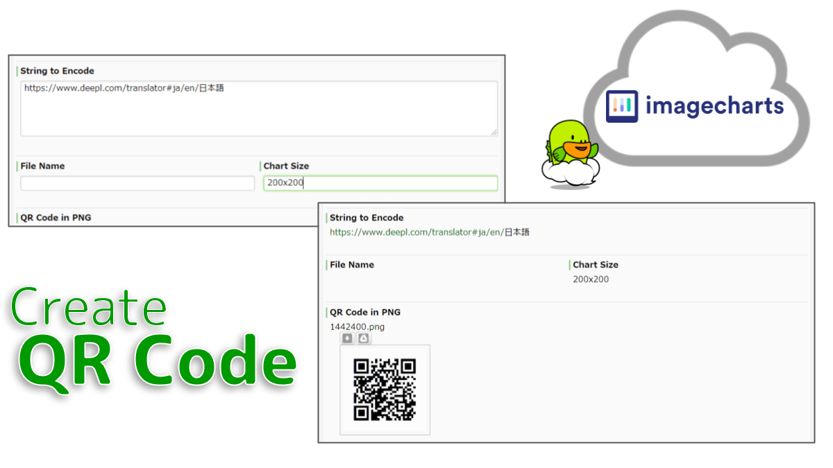 Creates a QR Code using the Image-Chart QRCode web service generation. It is possible to encode any string data to the QR code. The QR Code image will be output in png format.