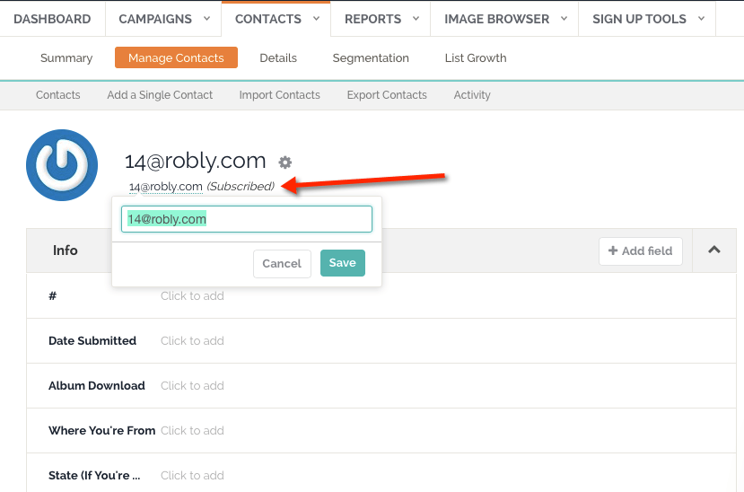 can i change the email address of a contact on my list robly support
