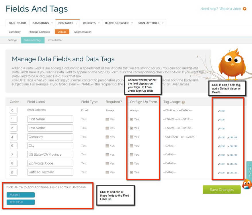 Manage Fields and Tags