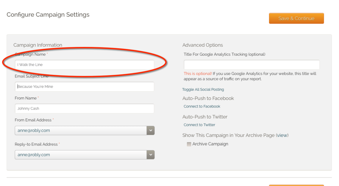 Change Campaign Name on the Settings step of the campaign builder