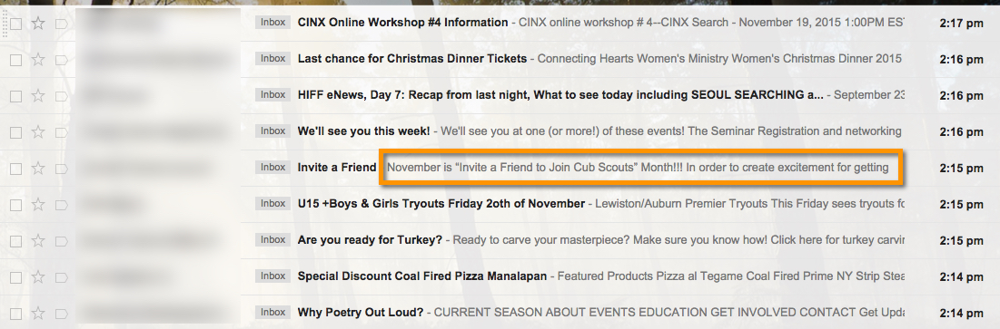 An example of what preview text looks like in an inbox.