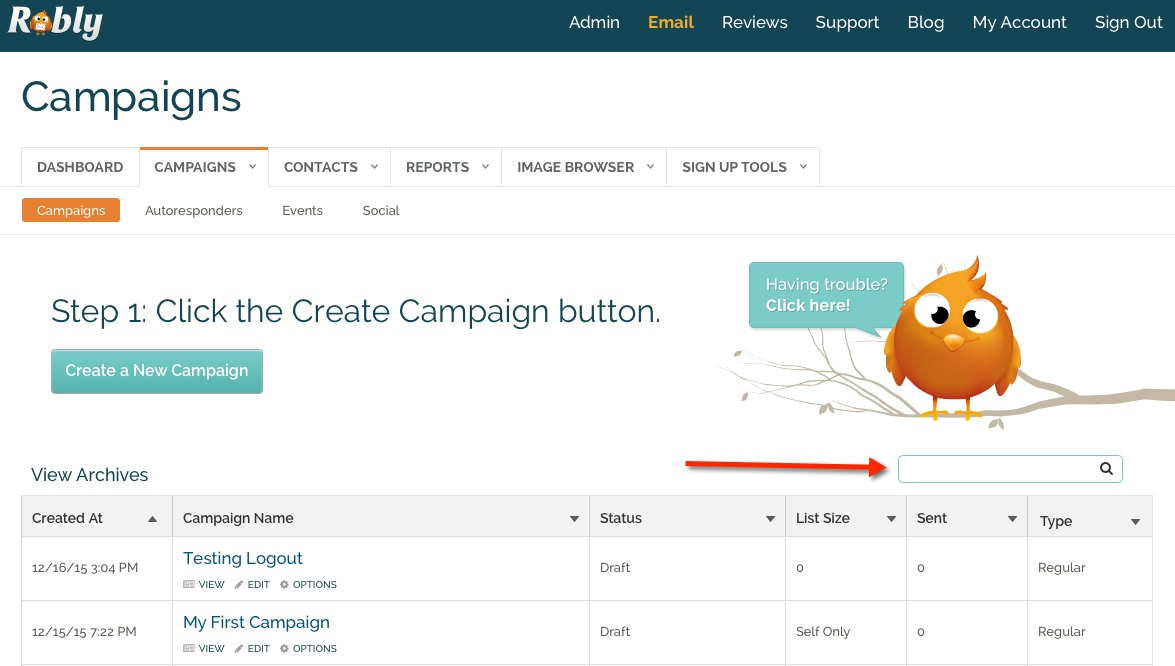 Use the search field under the Campaigns tab to search for different campaigns.