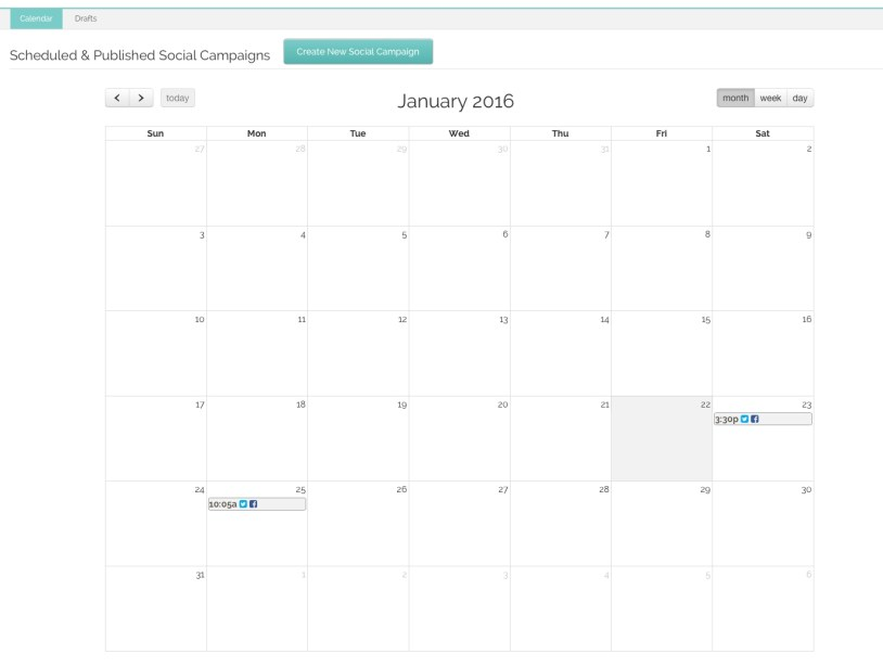 Your scheduled social media posts will display on the Calendar