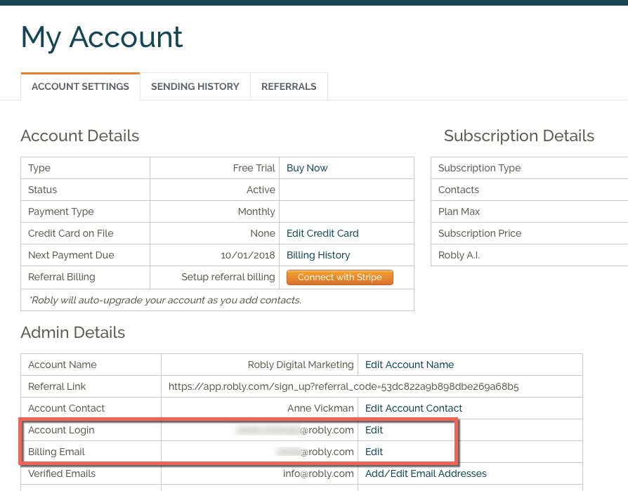 Update your login and billing information under My Account