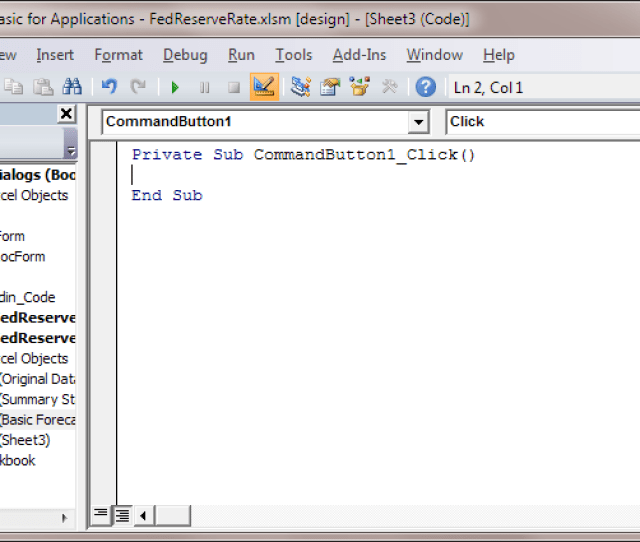 Code For The Command Button As It Appears In The Microsoft Visual Basic Editor