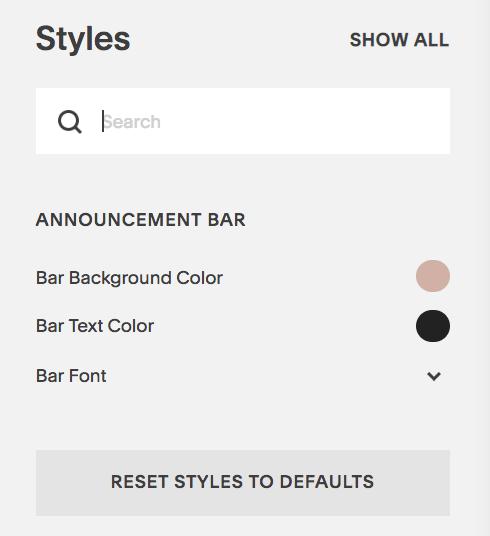adding an announcement bar