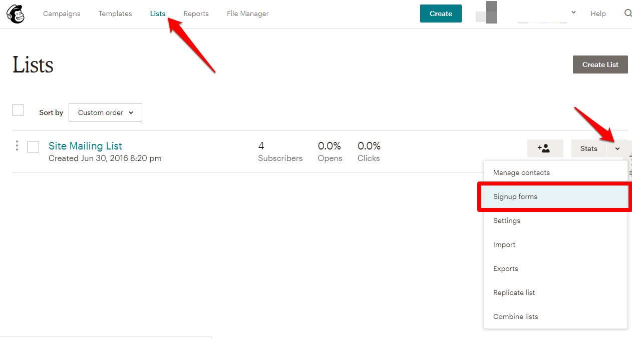 Embed MailChimp Sign Up Form