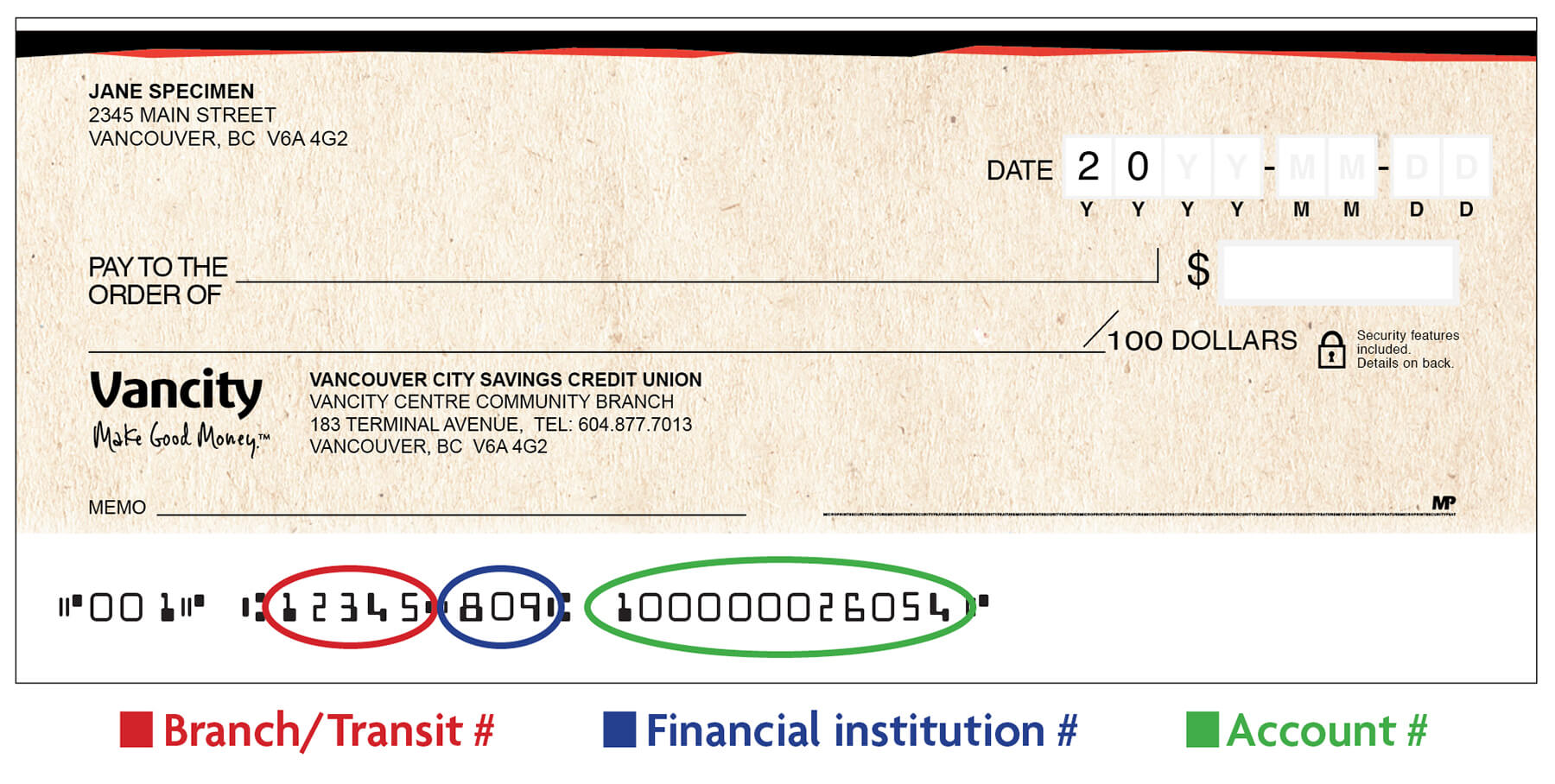 hight resolution of sample void cheque
