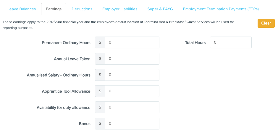 Setting Employee Opening Balances (Initial Values